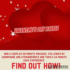 Win a FREE couples massage day @ The Healing Grotto  - Come to the cave and get a free entry into our raffle with a paid cave session.  NO previously paid sessions allowed. HOWEVER...spend $5.00 and get 2 extra entries or $10.00 and get 5 extra entries when visiting .  GOOD LUCK TO ALL...(restrictions apply) By appointment only, done in massage room, must be used in February 2017.  Drawing takes place January 8th. Prize has no redeemable cash value.