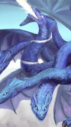 Hydra, dragon, fantasy, art, 720x1280 wallpaper