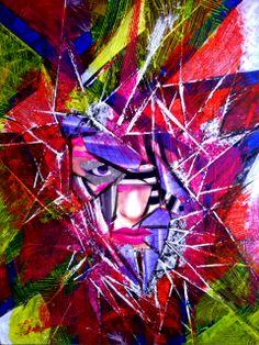 Titel : Power woman Een combinatie van verschillende technieken. Collage, schildering