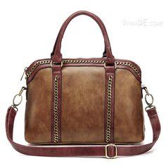 mode bloc rétro de couleur sac fourre-tout en cuir d'unité centrale 10947338 - Sac à main - Dresswe.Com