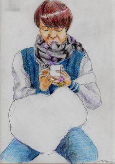 『スタジャンのお姉さん(通勤電車でスケッチ)』 It is a sketch of the woman who wound muffler. I drew on the train going to work towards the company.