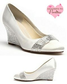 Ivory Dyeable Crystal Wedge Wedding Shoes | Wedding shoes by Perdita's