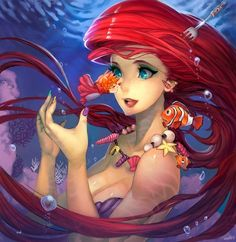 In this fancy digital art anime wallpaper, we see ariel from the disney movie little mermaid. what a cutie.