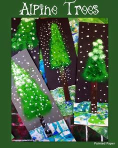 Painted paper: alpine trees art lessons for kids winter art Christmas Art Projects, Winter Art Projects, School Art Projects, Winter Project, Christmas Themes, Winter Craft, Art Lessons For Kids, Art Lessons Elementary, Art For Kids