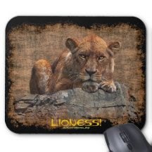 African Female Lion Art on a Wildlife Mousepad