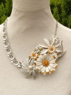 Asteraceae Daisy  repurposed vintage enamel flower pins statement necklace. $150.00, via Etsy.