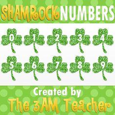 Classroom Freebies Too: Free Glitter Shamrock Numbers by The 3AM Teacher