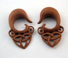 Hand Carved Wood Ex pander Pair 6G 6ga 4mm Organic Adornments 6Gauge Real Gauge Body Piercings Handmade Earrings