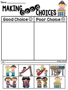 Making Good Choices cut and paste sort with pictures! Great classroom management activities kindergarten and first grade kids can do!