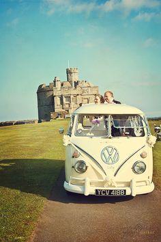 Falmouth wedding vintage VW campervan