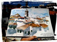 View of Fuenteheridos (Huelva, Spain) from the Paseo de los Poetas (Walk of the Poets) by Víctor G. Aguilar Escobar via Urban Sketchers Group on FB,