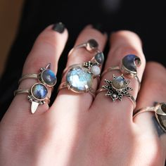 ✧♆✧ Stack up those labradorites high! ✧♆✧ Shop ⇢⇢ www.shopdixi.com // shop dixi // boho // bohemian // gothic // grunge // witchy // witchy // boho jewels // boho chic  // bohemian jewellery // bohemian jewelry // silver rings // sterling silver // gypsy jewels // rings // stacking rings // moon child // dark // mystic