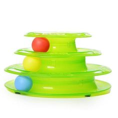 Get this Tower of Tracks Cat Toy from BinXzay! This popular toy will make your cat want to play and chase the crazy balls that are spinning around on the tower. Perfect gift for cat owners that want t