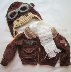 Ravelry: Project Gallery for Bomber Baby pattern by Patty Davis - If only I had seen this when my little guy was a baby!!