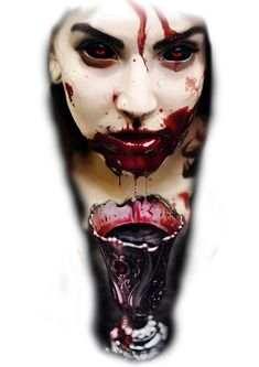 zombie blood cup scarry creepy tattoo design colour red forearm tattoo world famous ink cheyene vampire lady women face Creepy Tattoos, 13 Tattoos, Pin Up Tattoos, Badass Tattoos, Body Art Tattoos, Sleeve Tattoos, Vampires, Geniale Tattoos, Tattoo Project
