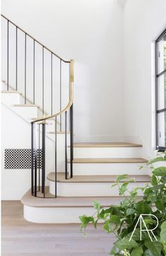 Brass railing with black stiles