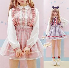 cute young girl dress harajuku gauze lace flower buckle patchwork plaid dresses pink and blue party dresses