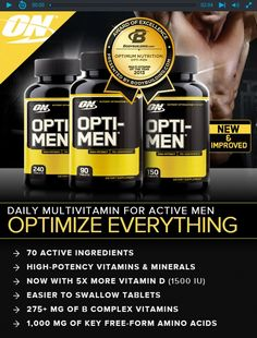 ORIGINAL Optimum Nutrition Opti-Men Supplement,High-Potency Multivitam 90 Count Reformulated with 1,500 IU of Vitamin D^New easy to swallow tablets^Take 3 times daily, 1 tablet with morning, noon and evening meals Optimum Nutrition Opti-Men Supplement, 90 Count Opti-Men is a comprehensive Nutrient Optimization System providing 75  active ingredients in 4 blends specifically designed to support the nutrient needs of active men. Each serving includes free form amino acids, antioxidant…