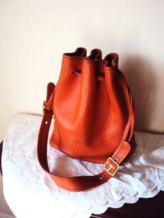a348d6ed67 Vintage Coach Bag 1980s Leather Hobo bag Pumpkin Orange Purse Handbag