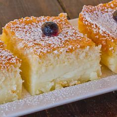 Magic Cake- (separates into three layers as it cooks) This would be delish with fresh fruit!