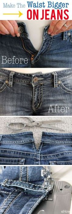 Useful Clothing Hacks Every Women Should Know How to Make the Waist Bigger on Jeans: Never throwing out jeans that are too small in the waist, you can try this easy sewing hack to adjust the waist. Sewing Hacks, Sewing Tutorials, Sewing Crafts, Sewing Patterns, Sewing Tips, Knitting Patterns, Diy Crafts, Sewing Alterations, Clothing Alterations