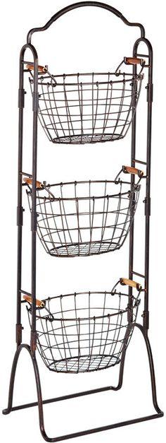Wire Basket Rack Storage Bin Vegetable Fruit Black Metal