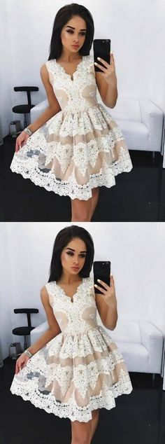 Party dresses, 2017 white lace homecoming dresses, cheap a- line fashion dresses, women's fashion
