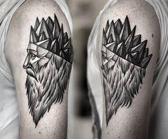 Geometric face tattoo - stippling style - Kamil Czapiga - Poland