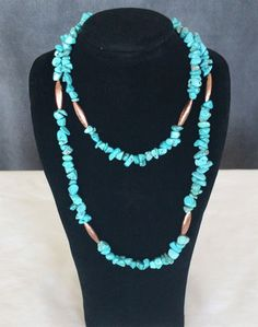 """Turquoise Colored Magnesite Necklace 32"""" Long with Copper Beads"""