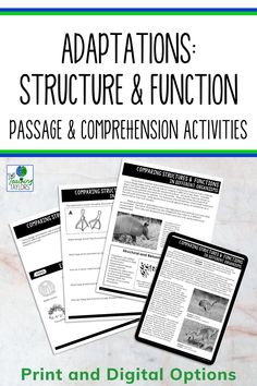 Don't let a taking a sub day put you behind in your science lesson plans. Never lose a day with these fun adaptations activities and reading passages for 4th grade and 5th grade science students. Includes an original text, comprehension questions, sorting activities and a quiz for assessment. Easy to assign with the digital version. Or print out the adaptations activities to use with your kids. 5th Grade Science, Science Student, Elementary Science, Comprehension Activities, Comprehension Questions, Science Lesson Plans, Science Lessons, Science Vocabulary, Structure And Function