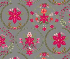 poinsettia_couronne_gris_L fabric by nadja_petremand on Spoonflower - custom fabric