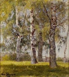 """""""Björkar"""" oil c.1884 - Eero Järnefelt (Finnish, 1863-1937)"""
