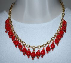 VTG GOLD PLATED WIRED RED GLASS DANGLING BEADS COLLAR NECKLACE   #Unbranded #Collar