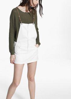 Weißes jeans-latzkleid - Overalls für Damen | MANGO Outlet Deutschland