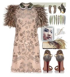 """""""feathers"""" by sweet-designs ❤ liked on Polyvore featuring Aquazzura, Bee Goddess, Dries Van Noten, Shin Choi, Valentino and Betsey Johnson"""