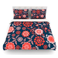 East Urban Home Cherry Floral by Nicole Ketchum Featherweight Duvet Cover