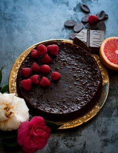 Grapefruit Raspberry Flourless Chocolate Cake recipe by Stephanie Shih for Anthology Magazine. Photograph by Stephanie Shih for Anthology Magazine.