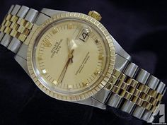 Rolex Date 1505 Mens Yellow Gold & Steel Watch Champagne Dial Jubilee - Rolex Watch - Ideas of Rolex Watch Rolex Watches For Sale, Luxury Watches For Men, Rolex Watch Price, Rolex Oyster Perpetual Date, High End Watches, Rolex Day Date, Vintage Rolex, Gold Watch