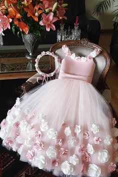 Buy A Line Round Neck Pink Hand Made Flowers Flower Girl Dresses Tulle Wedding Party Dresses in uk. Find the perfect flower girl dresses at PromDress. Our flower girl dresses come in a variety of styles & colors including lace, tulle, purple & gold Princess Flower Girl Dresses, Cheap Flower Girl Dresses, Little Girl Dresses, Girls Dresses, Dresses Dresses, Girls Party Dress, Flower Girl Gown, Princess Dress Kids, Wedding Flower Girl Dresses