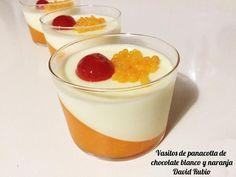 Vasitos de Panacotta de chocolate blanco y naranja