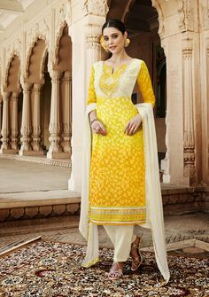 Women s Clothing - Designer Yellow Resham Embroidery Cotton Silk Brasso Pant Style Suit - 4529 ( ) - PRODUCT Details : Style : SemiStitched Party Wear Pant Style SuitDefault Size : XL Cotton Salwar Kameez, Churidar Suits, Indian Salwar Kameez, Anarkali Suits, Designer Suits Online, Designer Salwar Suits, Latest Salwar Suit Designs, Salwar Kameez Online Shopping, Indian Sarees Online