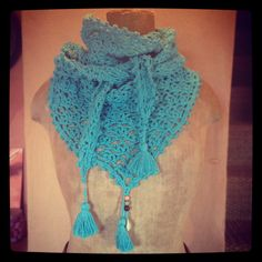 turquoise hand crocheted 'chèche' par hooknhula sur Etsy, $50.00 Hula, Hand Crochet, Crochet Necklace, Hands, Turquoise, Etsy, Accessories, Jewelry, Fashion