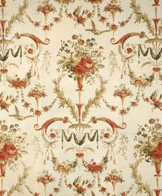 Detail of the French C18th Les Deux Pigeons rare flocked wallpaper in the Palladio Room at Clandon Park in Surrey. It was made c. 1780 by Reveillon, the leading French wallpaper maker of his day.