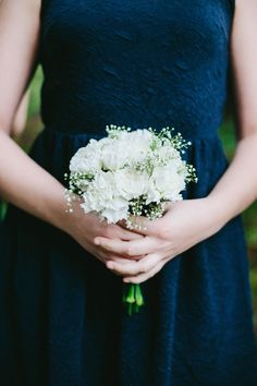 Winter Wedding in Navy Bridesmaid White Carnation Bouquet. Winter Wedding in Navy Bridesmaid White Carnation Bouquet. Winter Wedding in Navy Carnation Wedding Bouquet, Small Bridesmaid Bouquets, Small Wedding Bouquets, Navy Wedding Flowers, Wedding Flower Arrangements, Navy Bouquet, Dahlia Bouquet, Bridal Bouquets, Flowers