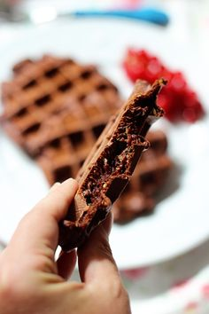 Rezept für Brownie Waffeln mit Zucchini oder Schokowaffeln