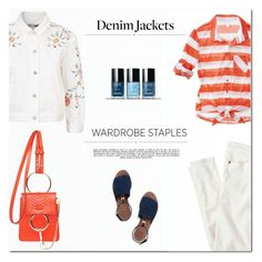 """""""Wardrobe Staple: Denim Jackets"""" by drn57 ❤ liked on Polyvore featuring J.Crew, Mossimo, Tory Burch, Whiteley, Topshop, denimjackets and WardrobeStaples"""