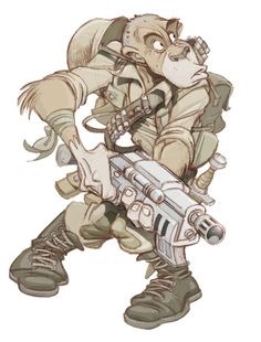 Oscar Martin Soldado   -- Uplifted simian soldiers.  Nothing can go wrong with this plan.