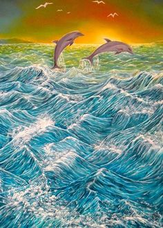Greeting Card,  dolphins,nature,sunset,seascape,ocean,scene,waves,water,fish,sunrise,rough,big,high,crashing,breaking,splashing,spray,blue,playful,jumping,beautiful,image,painted,contemporary,scenic,modern,virtual,deviant,awesome,cool,artistic,for,sale,items,ideas