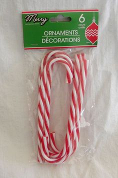 "New Package of 6 Candy Canes 6"" Ornaments Red White Stripe"