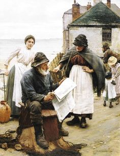 Walter Langley (1852-1922) When the Boats are Away --Classic Art Paintings
